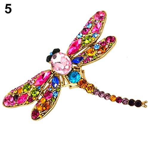 Women's Dragonfly Crystal Brooch Lovely Rhinestone Scarf Pin Jewelry Hijab Corsage Coat Sweater Clips Broches Party Spille Pink