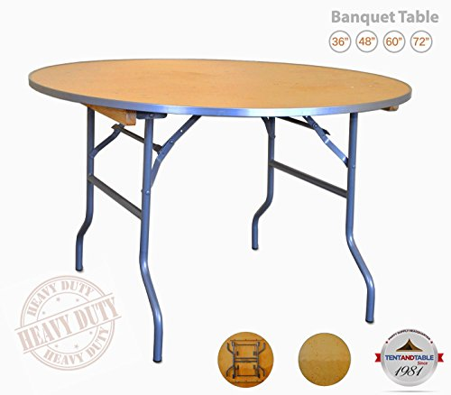 (4-Foot (48-Inch) Diameter Heavy Duty Round Solid Birch Wood Folding Table with 30-Inch Height and Aluminum Edge for Weddings, Parties, Events, and Classrooms)