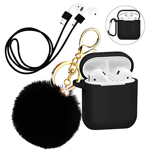Silicone Case Cover with Cute Pompom Ball Keychain Compatible for Apple AirPods Charging Case - Shockproof Soft Skin and Anti-Lost Strap Suitable for Airpod Accessories (Black)