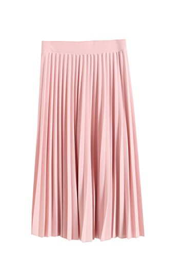 GOLDSTITCH Women Pleated Fall and Winter A line Midi Skirt Pink S -