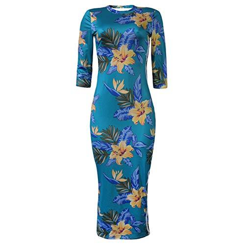 Las Deportes la los del de la Medias Flor Cuello Medias S la Delgadas de impresión de Vestido Manera tamaño de Green Color de wOqEI