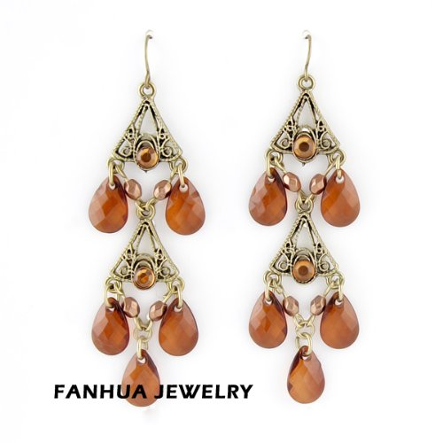 Passion-Jewel New Arrival Fashionable Graceful Antique Gold Color Alloy Red Imitation Crystal Beads Dangle Earrings for Women