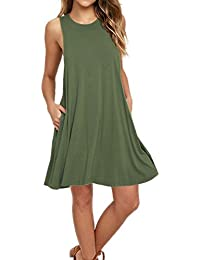 Womens Sleeveless Pockets Casual Swing T-Shirt Dresses