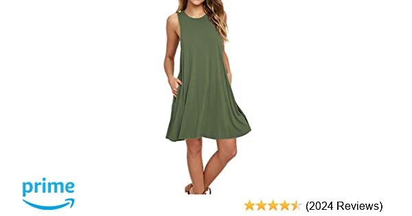 8de2b908af AUSELILY Women s Sleeveless Pockets Casual Swing T-Shirt Dresses at Amazon  Women s Clothing store