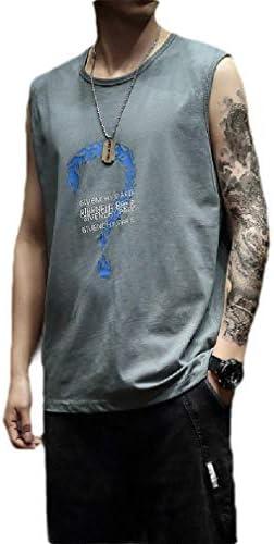 メンズカジュアルベーシックコットンクルーネックオーバーサイズフローラルプリントベストシャツ