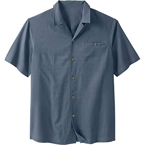 KS Island Men's Big & Tall Linen Camp Shirt, Blue Mirage Big-3Xl ()