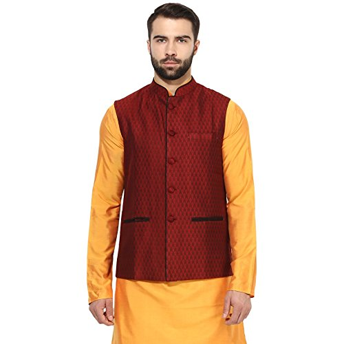 Used, KISAH Men's Indian Woven Cotton Silk Nehru Jacket 42 for sale  Delivered anywhere in USA