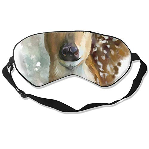 (Sleep Mask Watercolor Cute Deer Eye Mask Cover With Adjustable Strap Eyeshade For Travel, Nap, Meditation,)