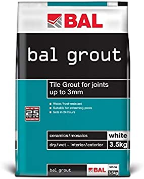BAL - Lechada para juntas de azulejos de hasta 3 mm, 3,5 kg, color blanco: Amazon.es: Bricolaje y herramientas