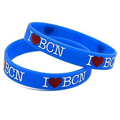 TtKj Silicone Wristbands with Sayings lsquo I Love BCN rsquo Love Barcelona Rubber Wristbands for Men Kids Motivation Set Pieces Estimated Price -