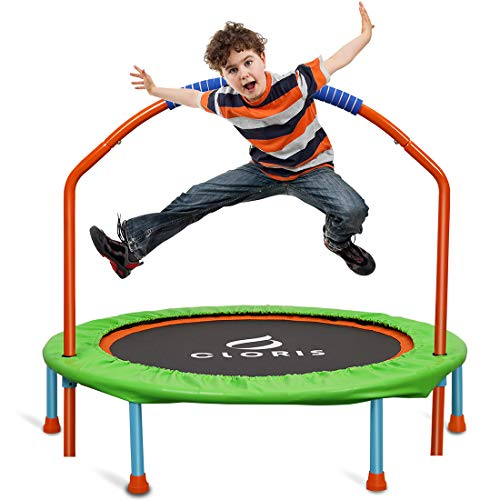CLORIS-Mini-Trampoline-for-Kids-Toddler-Trampoline-with-Adjustable-Foam-Handle38-Inch-Foldable-Kids-TrampolineColorful-rebounder-TrampolineLittle-Trampoline-for-Play-ExerciseAge-3-14