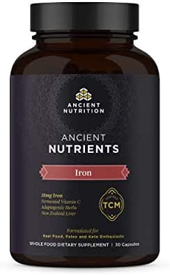 Ancient Nutrition, Ancient Nutrients Iron - 18mg Iron, Adaptogenic Herbs, Enzyme Activated, Paleo & Keto Friendly, 30 Capsules