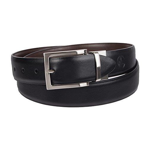 - Weatherproof Men's Dress Reversible Belt with Rotated Buckle, Black Brown/Silver Buckle, 36