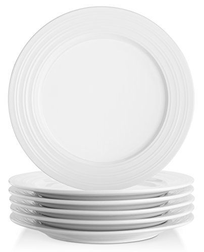 Lifver 10-inch Porcelain Dinner Plates/Serving Platters with Embossed Ring Rim, Round&Elegant White, Set of 6