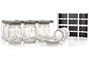 Premium Mason Style Spice Jar Set By Cucina Di Marco - 12 x 5oz Classic Design Glass Jars - Reusable Chalk Marker & Labels Included - Great For Spices, Herbs, Blends & Condiments