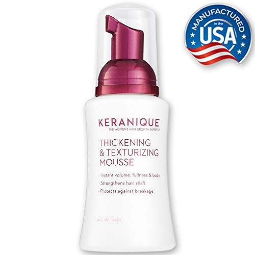 Keranique Thickening & Texturizing Mousse, 3.4 Fl Oz - Instant Volume, Thickness and Body, Leaving Hair with Smooth and Soft Touch | Strengthens Hair Shaft and Protects Against Breakage (Best Styling Products For Fine Curly Hair)