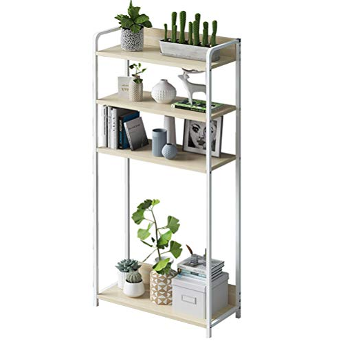 ZXG-Flower Stand Flower Stand Simple Bookcase Simple Modern Floor Rack Assembly Small Bookcase Creative Home Storage Storage Shelf Flower Stand 43X120X24cm (Color : Balun Oak+White Frame)