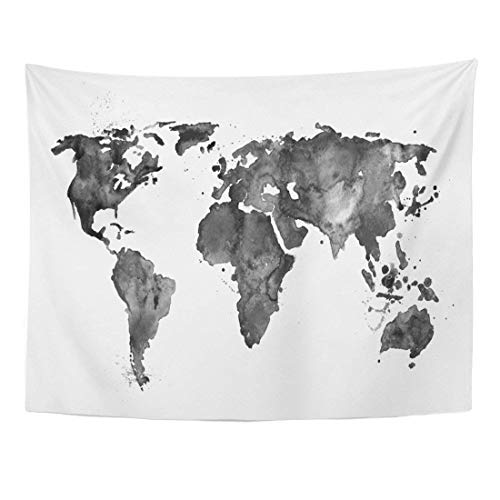 Wedding Invitation Leaves Fall (Wall Tapestries 60 x 50 inches Abstract Map World Black Watercolor Africa Artistic Home Decor Wall Hanging Tapestries Living Room Bedroom Dorm)