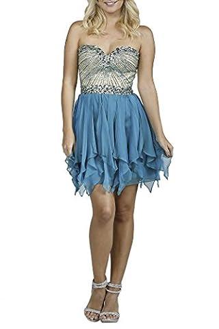 Milano Formals Women's Sweetheart Waterfall Short Blue Evening Dress
