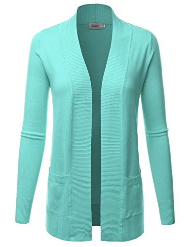 (LALABEE Women's Open Front Pockets Knit Long Sleeve Sweater Cardigan-MINT2-M)