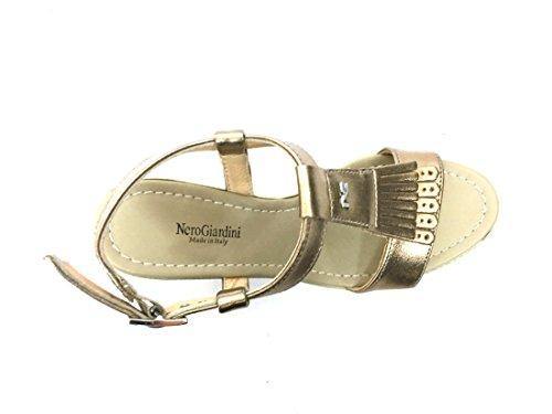 17651 RIO Scarpa donna sandalo tacco Nero Giardini pelle made in italy