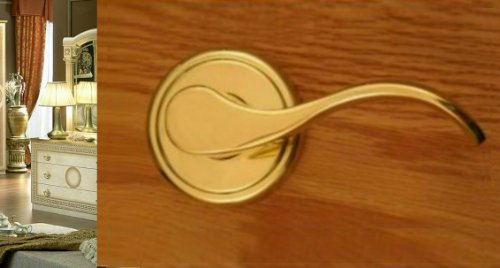Hampton Passage Lever Set by FPL Door Locks for Hallway and Closet Doors in Polished Brass Finish