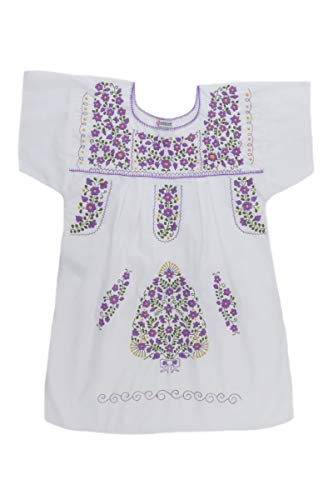 Poplin Mexican Co Mexican Peasant 8119 Dress White Tehuacan Clothing Womens w4axA1n0q