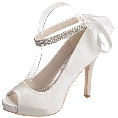 LOSLANDIFEN Women's Elegant Peep Toe Satin Pumps Ankle Straps Stiletto High Heel Wedding Shoes
