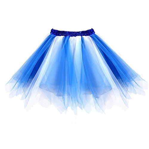 Dressever Vintage 1950s Short Tulle Petticoat Ballet Bubble Tutu Blue/White XXLarge/XXX-Large