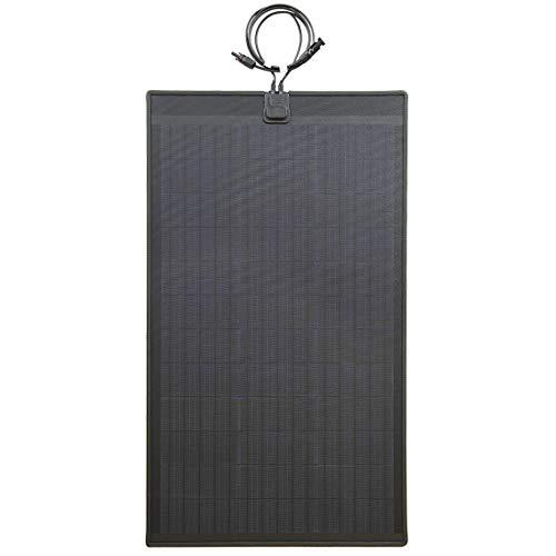 Lensun 80W 12V Black Fiberglass Semi-Flexible Monocrystalline Solar Panel Without Eyelets for 12V Charge Battery on Boats, Caravans, Motorhomes, Yachts, RVs ...
