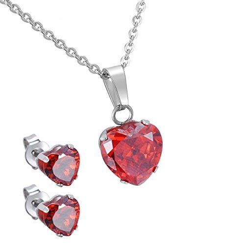 Birthstone Ring Necklace (HooAMI Stainless Steel Garnet Birthstone Love Heart Pendant Necklace Earrings Jewelry Set)