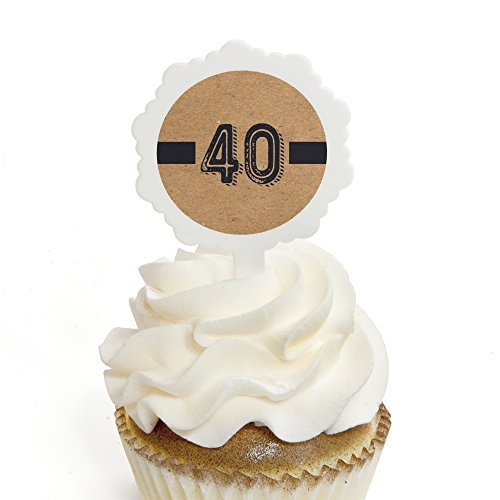 (40th Milestone Birthday - Dashingly Aged to Perfection - Cupcake Picks with Stickers - Birthday Party Cupcake Toppers - 12)