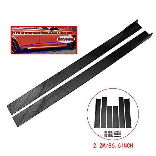 (ZEEOS Universal Carbon Fiber Look Side Skirts Extension Rocker Panel Splitter For BMW,Mercedes Benz,AUDI,LEXUS,etc.Length 2.2M/86.6inch)