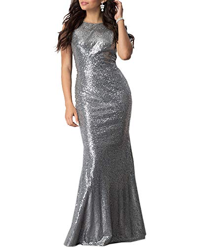 Aofur Luxury Womens Sequin Glitter Bodycon Maxi Dress Cocktail Evening Prom Club Dresses Party Ball Gown (Small, Silver)