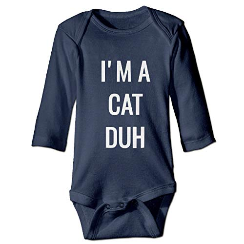 I'm A Cat Duh Long Sleeve Baby Girls Jumpsuit Cute Toddler Summer Bodysuits ()