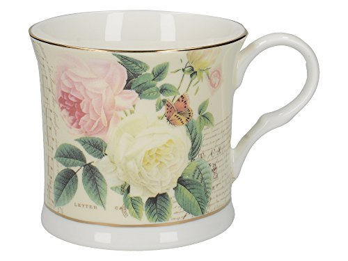 Creative Tops Palace-Style 'Rose Garden' Printed Bone China Mugs with Gold Rim, 300 ml - Multi-Colour (Set of 4)