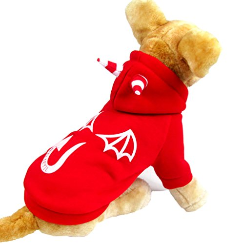 - PEGASUS SELMAI Small Dog Fleece Sweater Jacket Monster Hooded Dog Coat Pattern Devil Dog Print Clothing for Girl Boy Puppy Red XL