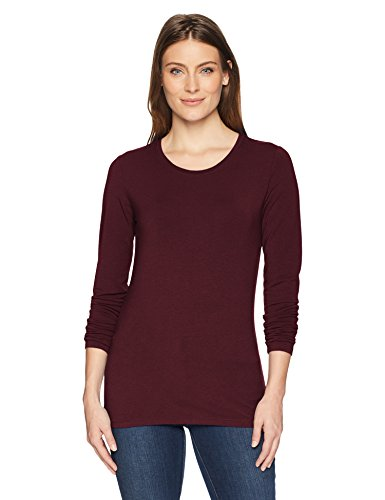 Amazon Essentials Women's Classic-Fit Long-Sleeve Crewneck T-Shirt, Burgundy, Large