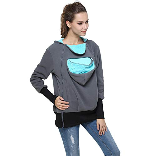Hooded Wrap Jacket - Womens Maternity Kangaroo Hooded Sweatshirt for Baby Carriers (L, Mint Green)