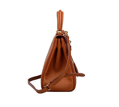 Ainifeel Women's Padlock Shoulder Handbags Hobo Bag (28cm, Brown) by Ainifeel (Image #3)