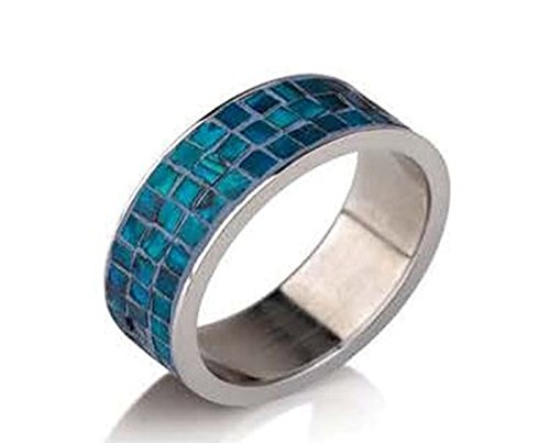 Stainless Steel Rings for Women & Men Two Rows of Square Turquoise Color Stones Fashion Ring (8) ()