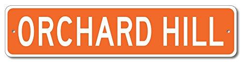 The Lizton Sign Shop Orchard Hill, Georgia U.S.A. Custom America Aluminum Metal Street Sign - Orange - - Orchard Computer Corner Hills
