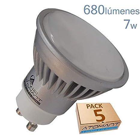 LED ATOMANT 120 Grados Pack 5X 7W-Blanco Calido (3000k). Halogeno LED