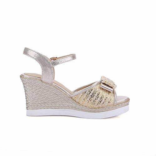 Carolbar Womens Shiny Fashion Buckle Peep Toe Bows Party Dress Charm Wedges Sandals Gold qK6tOU6