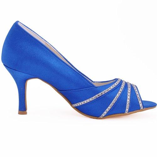 Parc Fermé Femmes Élégantes Mary Orteil Élément De Bloc Jane Pompes Mariage Chaussures De Mariée - Bleu Foncé, Taille: 40