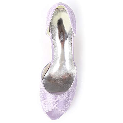 L yc Boda Evening Toe Mujeres Heels Purple Encaje Tacones Party amp; De Fy119 Las Plataforma Peep Zapatos 6cm High qqd1xCrw