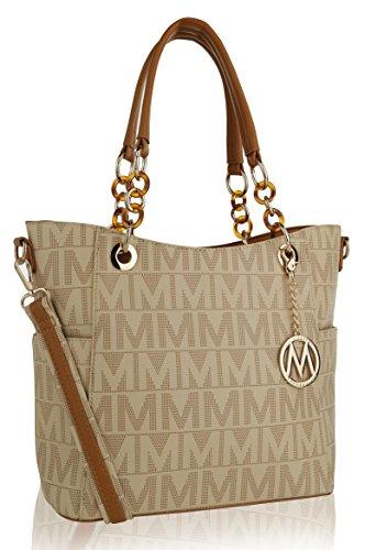 MKF Crossbody Shoulder Handbag for Women Removable Shoulder Strap Vegan Leather Top-Handle Satchel-Tote Bag Beige (Purses Sale Gucci On)