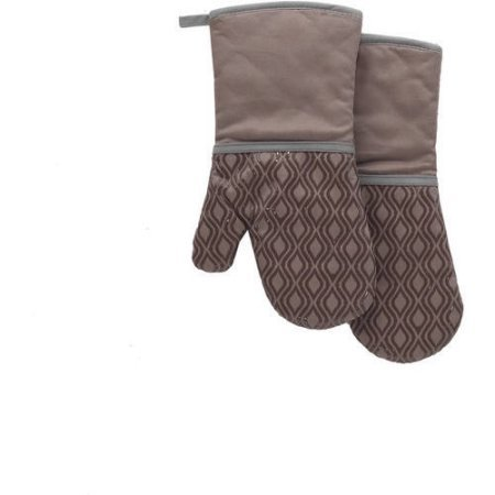 Better Homes and Garden Tan Silicone Printed Oven Mitt, Set of 2 (Tan)