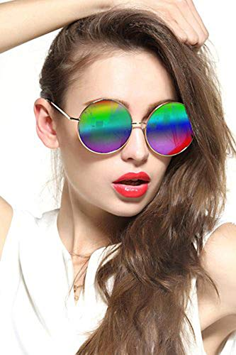 GEELOOK Oversized Round Circle Mirrored Hippie Hipster Sunglasses - Metal Frame (Multicoloured, as ()