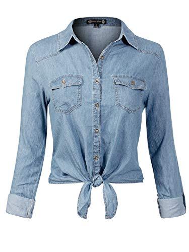 Instar Mode Women's 3/4 Roll Up Sleeve Front Tie Knot Chambray Denim Shirt Light Denim S